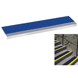 "Grit Surface Aluminum Stair Tread 7-1/2""D 60""W Glued Down Grayblue"