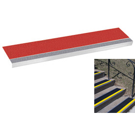 "Grit Surface Aluminum Stair Tread 9""D 36""W Glued Down Grayred"