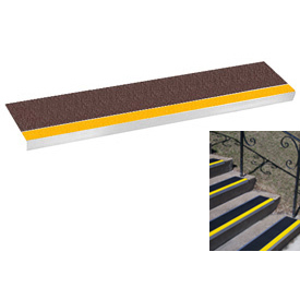 "Grit Surface Aluminum Stair Tread 9""D 48""W Glued Down Yellowbrown"