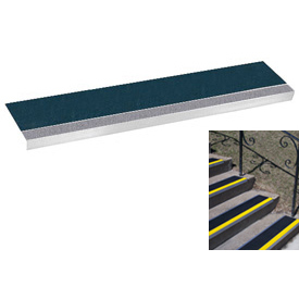 "Grit Surface Aluminum Stair Tread 9""D 60""W Glued Down Graygreen"