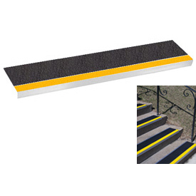 "Grit Surface Aluminum Stair Tread 11""D 30""W Glued Down Yellowblack"