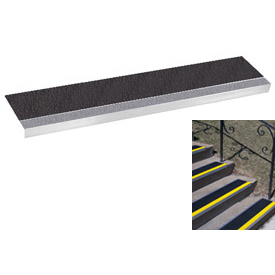 "Grit Surface Aluminum Stair Tread 11""D 48""W Glued Down Grayblack"