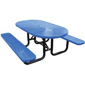 "72"" Oval Perforated Metal Surface Mount Picnic Table - Blue"