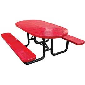 "72"" Oval Perforated Metal Surface Mount Picnic Table - Red"