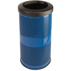 Perforated Stadium Series® Trash Container - 10 Gallon Blue
