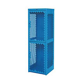Pucel Heavy Duty Extra Wide Vented Steel Locker Double Tier 18x18x75 2 Door Blue