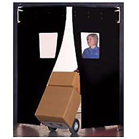"Aleco® 8' x 9' x 0.25"" Twin Panel Black Flexible Impact Traffic Door 436051"