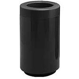 Fiberglass Waste Receptacle with Open Top - 50 Gallon Capacity Black