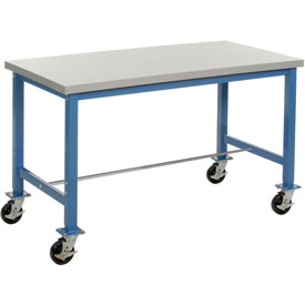 "72""W x 30""D Mobile Packaging Workbench - Plastic Laminate Safety Edge - Blue"