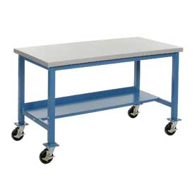 "60""W x 30""D Mobile Workbench - Plastic Laminate Square Edge - Blue"
