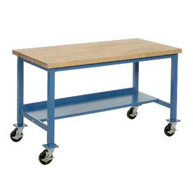 "72""W x 30""D Mobile Workbench - Maple Butcher Block Square Edge - Blue"