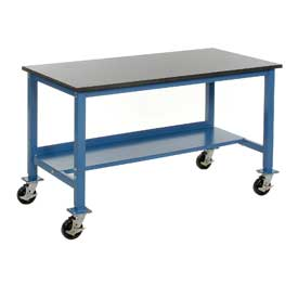 "72""W x 30""D Mobile Workbench - Phenolic Resin Safety Edge - Blue"