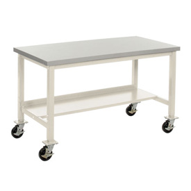 "72""W x 30""D Mobile Workbench - Plastic Laminate Square Edge -Tan"