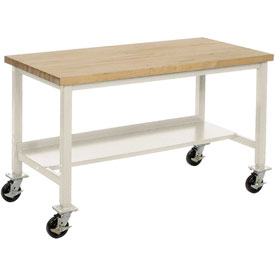 "72""W x 36""D Mobile Workbench - Maple Butcher Block Square Edge -Tan"