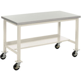 "72""W x 36""D Mobile Workbench - ESD Square Edge - Tan"