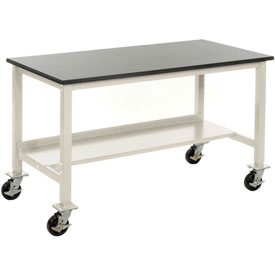 """72""""W x 30""""D Mobile Workbench - Stainless Steel -Tan"""