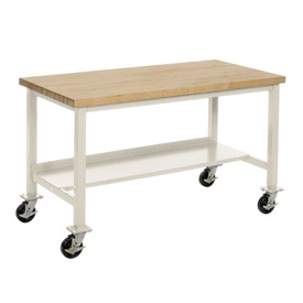 "72""W x 36""D Mobile Workbench - Maple Butcher Block Safety Edge - Tan"