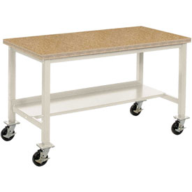 "72""W x 30""D Mobile Workbench - Shop Top Safety Edge - Tan"