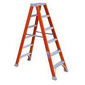 Louisville 4' Dual Access Fiberglass Step Ladder - 300 lb Cap. - FM1504