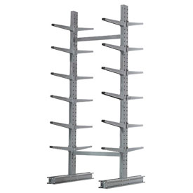 "Cantilever Rack Double Sided Starter Unit Medium Duty, 72"" W  x 78"" D x 10' H, 7600 Lbs Capacity"