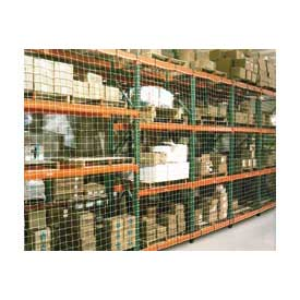 "Pallet Rack Netting Two Bay, 198""W x 120""H, 1-3/4"" Sq. Mesh, 1250 lb Rating"