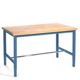 "72""W x 24""D Production Workbench Return - Maple Butcher Block Square Edge - Blue"
