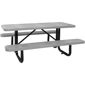 "96"" Picnic Table Gray (ADA) Perforated Metal Surface Mount"