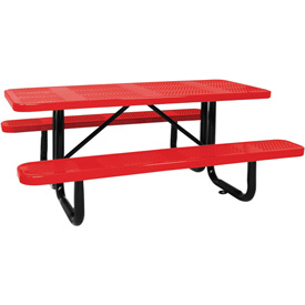 "96"" Picnic Table Red (ADA) Perforated Metal Surface Mount"
