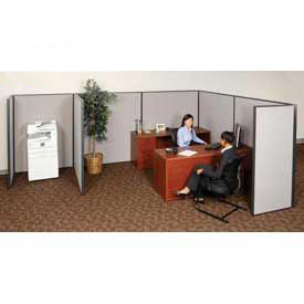 "Interion™ Pre-Configured Cubicle Partitioned Office Starter, 6'W x 8'D x 60""H, Gray"