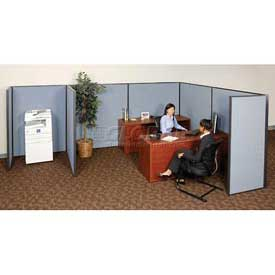 "Interion™ Pre-Configured Cubicle Partitioned Office Starter, 8'W x 8'D x 72""H, Blue"
