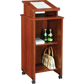 Mobile Podium / Lectern in Mahogany Finish