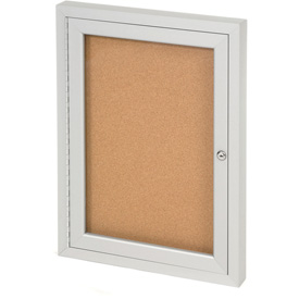"United Visual Products One-Door Indoor Corkboard - 24""W x 36"""