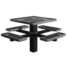 """46"""" Single Post Square Picnic Table Expanded Metal"""