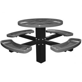 "46"" Single Post Round Picnic Table Expanded Metal"