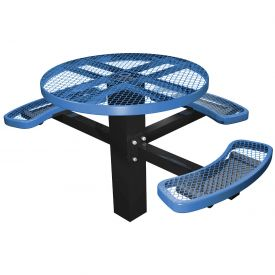 """46"""" Single Post Round Picnic Table (ADA) Expanded Metal"""