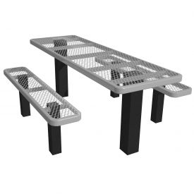 "72"" Permanent Rectangular Picnic Table Expanded Metal"