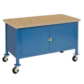"60""W x 30""D Mobile Workbench with Security Cabinet - Shop Top Square Edge - Blue"