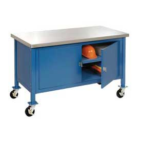 "72""W x 30""D Mobile Workbench with Security Cabinet - Stainless Steel Square Edge - Blue"