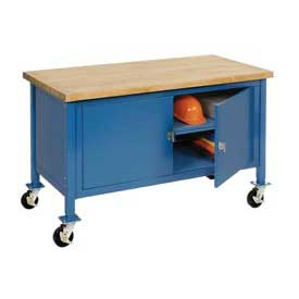 "60""W x 30""D Mobile Workbench with Security Cabinet - Maple Butcher Block Safety Edge - Blue"