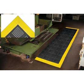"Diamond Flex-Lok Antifatigue Drainage Mat 30""X 36"" 3 Sides Black Yellow Boarders"