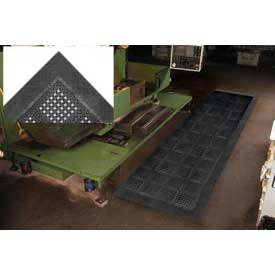 "Diamond Flex-Lok Antifatigue Drainage Mat 42""X72"" 3 Sides Black"