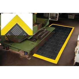 "Diamond Flex-Lok Antifatigue Drainage Mat 48""X 72"" 4 Sides Black Yellow Boarders"
