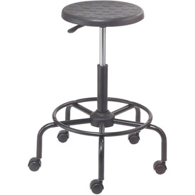 Shop Stool with Footrest - Polyurethane - Black