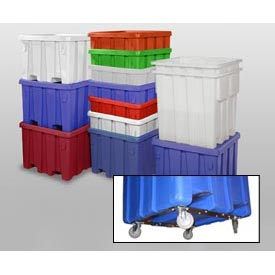 "MODRoto Bulk Container With Lid P291-B-5C - 44x44x32-1/2 Dumping Bracket and 5"" Casters, Natural"