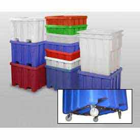 """MODRoto Bulk Container With Lid P333-B-5C - 44x44x44 Dumping Bracket and 5"""" Casters, Green"""