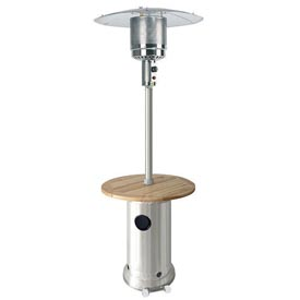 Hiland Patio Heater HLDS01-BWT Propane 41000 BTU With Wood Table Stainless Steel