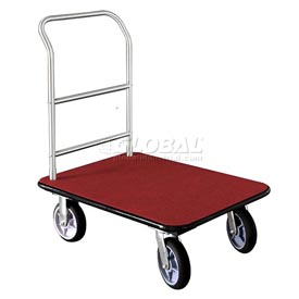 Glaro Bellman Hotel Truck 35x25 Satin Aluminum 1 Handle Burgundy Carpet, Rubber Wheels