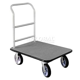 Glaro Bellman Hotel Truck 40x25 Satin Aluminum 1 Handle, Gray Carpet, Rubber Wheels