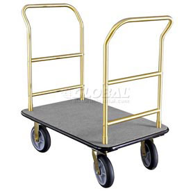 Glaro Bellman Hotel Truck 40x25 Satin Brass 2 Handle, Gray Carpet, Rubber Wheels