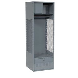 Pucel All Welded Gear Locker With Foot Locker Top Shelf Cabinet 24x18x72 Gray